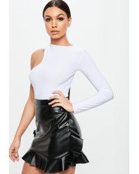 Missguided - White Asymmetric Long Sleeves Bodysuit - Lyst