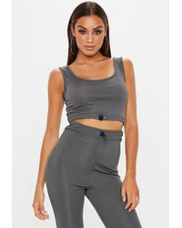 Missguided - Grey Ribbed Toggle Scoop Neck Crop Top - Lyst