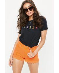 Missguided - Orange Highwaisted Extreme Fray Hem Denim Shorts - Lyst