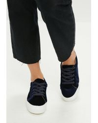 Missguided - Navy Velvet Platform Trainers - Lyst
