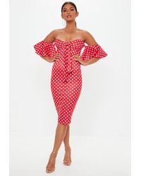 Missguided - Red Polka Dot Bandeau Tie Front Midi Dress - Lyst