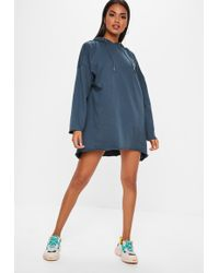 Missguided - Navy Oversized Hooded Dip Hem Jumper Dress - Lyst