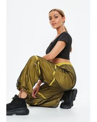 Missguided - Yellow Fishnet Toggle Waist Joggers - Lyst