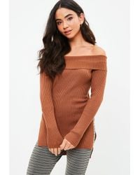 Missguided - Brown Knitted Bardot Split Sweater - Lyst