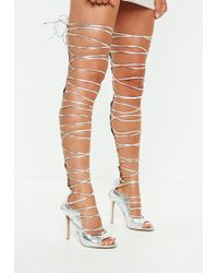 3889004b27d Lyst - Missguided Peep Toe Lace Up Sandal Nude in Natural