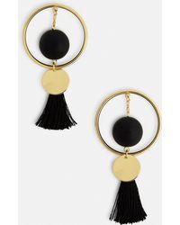 Missguided - Black Circle Tassel Drop Earrings - Lyst