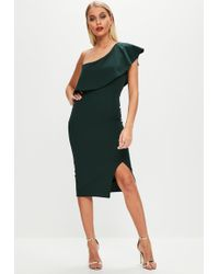 Missguided - Green One Shoulder Frill Midi Dress - Lyst