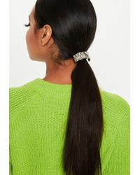Missguided - Grey Snake Print Band Hair Bobble - Lyst