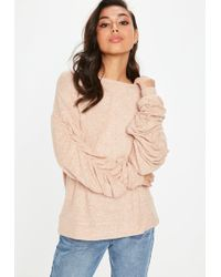 Missguided - Camel Brushed Ruched Sweatshirt - Lyst