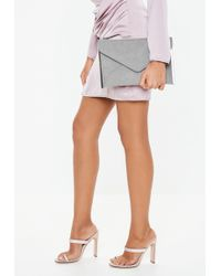 Missguided - Gray Suedette Metal Trim Envelope Clutch - Lyst
