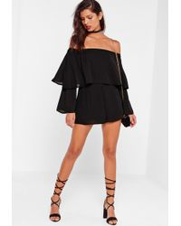 Missguided - Double Layer Bardot Playsuit Black - Lyst