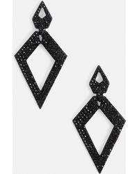 Missguided - Black Glitter Diamante Earrings - Lyst