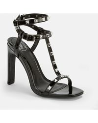 c46869c4565 Lyst - Missguided Black Studded T Bar Block Heeled Sandals in Black