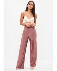 Missguided - Pink Slinky Disco Wide Leg Trousers - Lyst