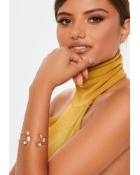 Missguided - Gold Look 3 Pack Fine Diamante Bangles - Lyst
