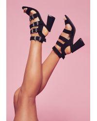Missguided - Black Western Buckle Block Heel Sandals - Lyst