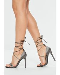 Missguided - Grey Satin Lace Up Barely There Heel - Lyst