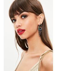 Missguided - Silver Rainbow Embellished Earrings - Lyst