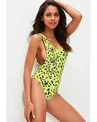 Missguided - Yellow Leopard Print Swimsuit - Lyst