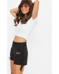 Missguided - Barbie X Black Faux Suede Fringed Shorts - Lyst