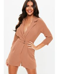 b893fdb27ab2 Lyst - Missguided Nude Twist Front Strappy Playsuit in Natural