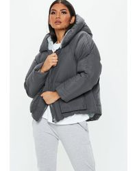 Missguided - Grey Hooded Ultimate Puffer Jacket - Lyst