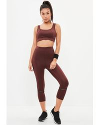 Missguided - Active Burgundy Cropped Legging - Lyst