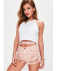 Missguided - Tall White Wrap Around Crop Top - Lyst