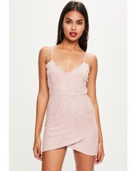 Missguided - Petite Pink Faux Suede Mini Dress - Lyst