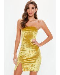 Missguided - Gold Crushed Velvet Split Hem Bodycon Mini Dress - Lyst