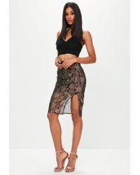Missguided - Black Lace Overlay Midi Skirt - Lyst