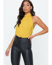 Lyst - Missguided Mustard Yellow Floral Print Mesh Bodysuit in Yellow 92980649a