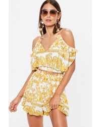 Missguided - Yellow Baroque Printed Shorts - Lyst