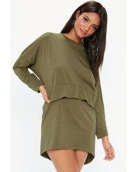 Missguided - Khaki Oversized Jersey Overlay T-shirt Dress - Lyst