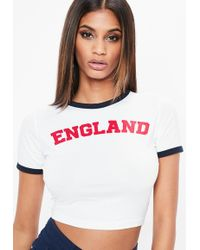 Missguided - White England Fitted Crop Top - Lyst