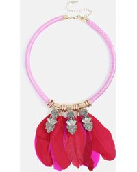 Missguided - Hot Pink Sparkle Feather Festival Collar - Lyst