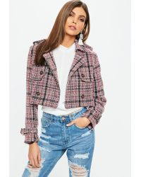 Missguided - Red Cropped Boucle Jacket - Lyst