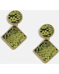 Missguided - Lime Snake Square Drop Earrings - Lyst