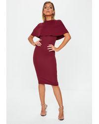 Missguided - Burgundy Frill Overlay Midi Dress - Lyst
