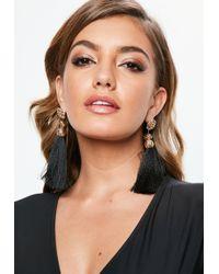 Missguided - Black Flower Knot Tassel Earrings - Lyst