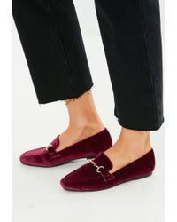 Missguided - Burgundy Faux Suede Loafer - Lyst