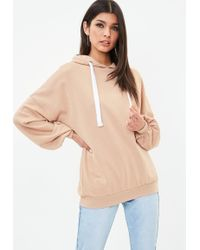 Missguided - Nude Oversized Puff Sleeve Hoodie - Lyst