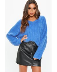 Missguided - Blue Fluffy V Neck Sweater - Lyst