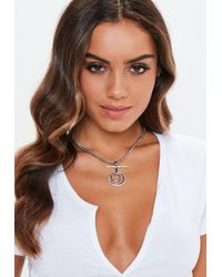 Missguided - Silver Look Diamante Circle T Bar Necklace - Lyst