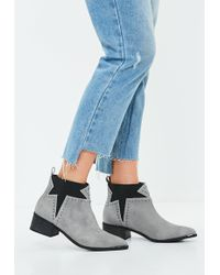 Missguided - Gray Star Studded Western Ankle Boot - Lyst