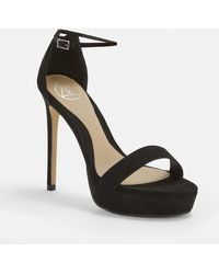 2f1d5afcce2 Missguided - Black Faux Suede Simple Strap Platform Heeled Sandals - Lyst