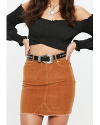 Missguided - Black Double Studded Western Detail Belt - Lyst