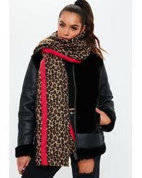 Missguided - Brown Leopard Stripe Scarf - Lyst