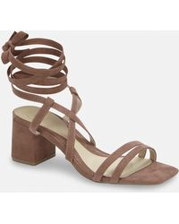 c55103cb9bf Lyst - Missguided Lace Up Platform Heeled Sandals Nude in Blue