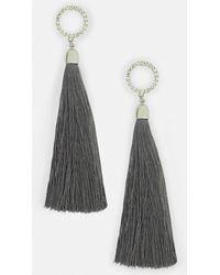 Missguided - Grey Drop Tassel Earrings - Lyst